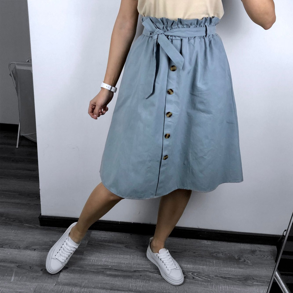FATIKA High Waist Midi Skirts Solid Pockets A-Line Casual Ladies Bottoms Trendy Female Skirts With Sashes 19 Hot New For Women 3