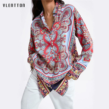 2019 Vintage Print Womens Shirt Blouse Button Long sleeve Folk Style Shirts Casual Chic Blouses Tops Female Blusa Camisas Mujer