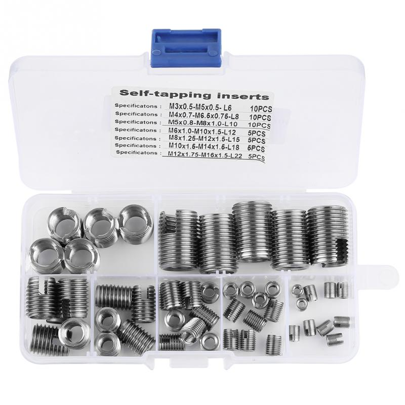50Pcs Stainless Steel Self Tapping Inner Thread Slotted Inserts Combination Set Metal Tool Kits for Metal Plastic Processing Industry