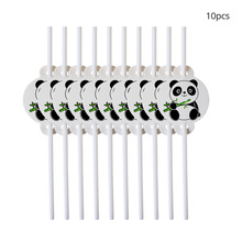 10pcs/lot Panda Straws Party Decorations Supplies easter wedding  Paper cups decor baby shower for home Activity goods hot 10pcs emoji disposable tableware straws happy birthday party decorations supplies easter baby shower wedding activity goods