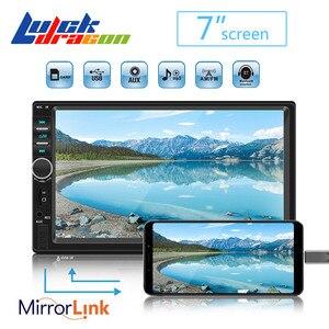 Car Radio 2 Din Mp5 Player Bluetooth Handsfree Touch Screen Auto Radio Reverse Image Support Rear View Camera Mirrorlink 7018b(China)