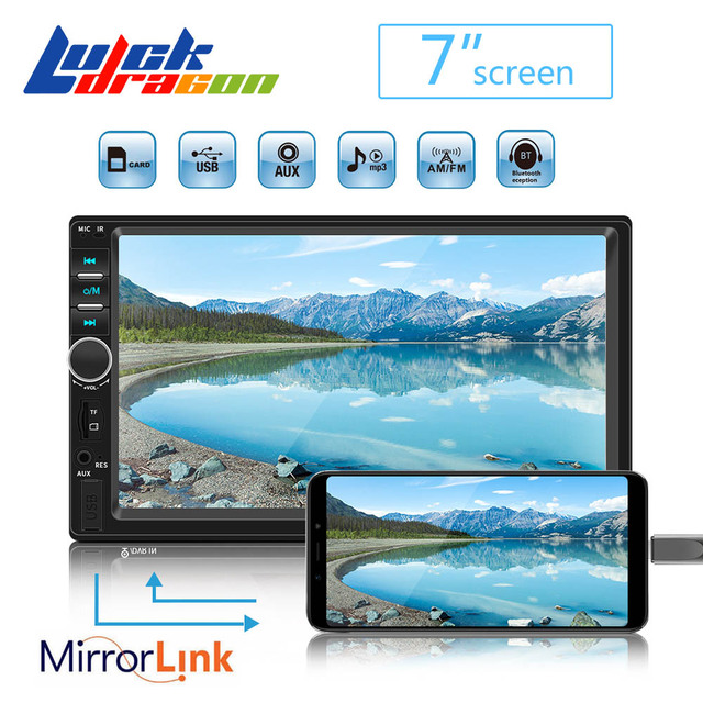 Rádio do carro Din Mp5 2 Player Bluetooth Handsfree Suporte a Imagem de Tela Sensível Ao Toque de Rádio Auto Reverso Câmera de Visão Traseira Mirrorlink 7018b