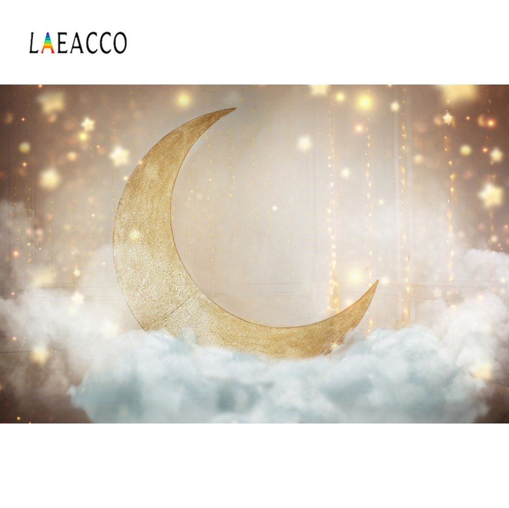 Photo Backdrops Shiny Gold Moon Star Party Pendant Cloud Dreamy Baby Birthday Portrait Photographic Backgrounds For Photo Studio