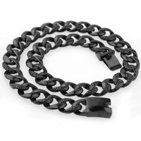 18mm High Quality 316L Stainless Steel Black Snake Pattern Cut Cuban Curb Link Chain Men's Necklace Jewelry 22.5 Christmas Gift