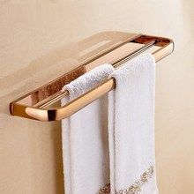 Rose Gold Double Towel Bar Wall Mounted Bathroom Towel Rail Rack Holder Bathroom Accessories KD697 стоимость