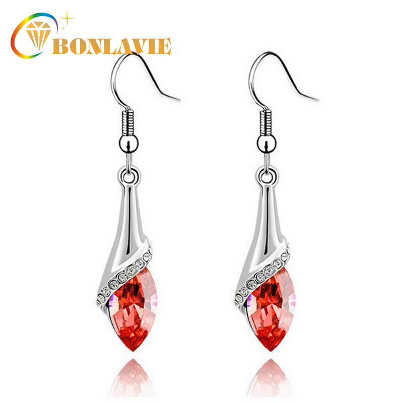 Classic Silver Plated Colorful Crystal Rhinestone Drop Dangle Earrrings Bridal Wedding Long Hook Earrings Jewelry 1049E ...