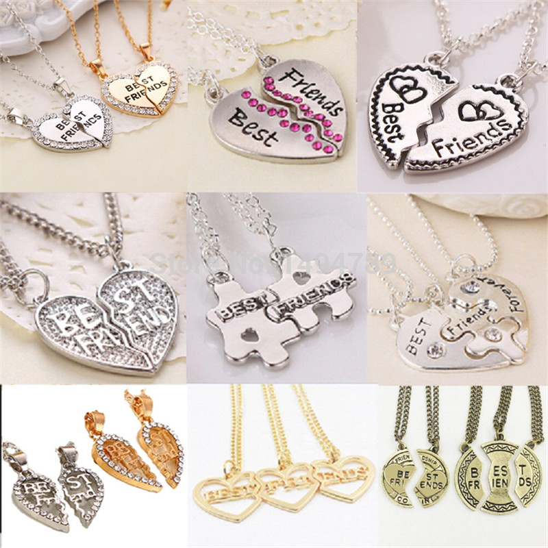 2017  Heart Broken Style 2-Piece And 3 Parts Pendant Necklace Best Friend F..