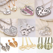 Heart Broken Style 2-Piece And 3 Parts Pendant Necklace Best Friend Forever Necklace Gift For Girl