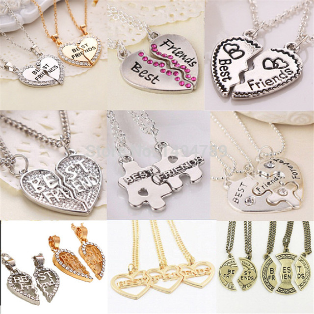 Heart Broken Style 2-Piece And 3 Parts Pendant Necklace Best Friend Forever Neck
