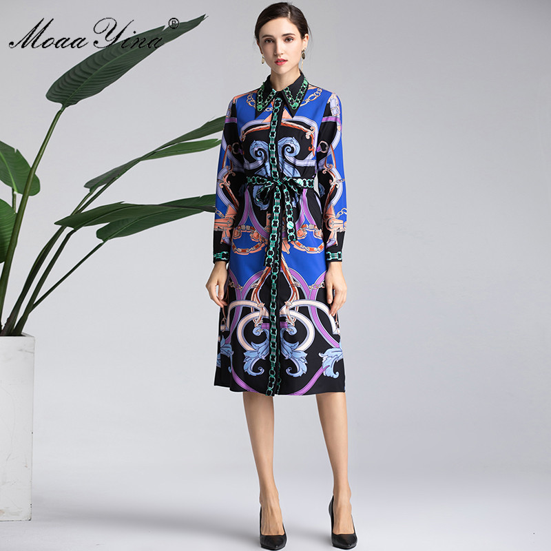 Col Ceintures Longues Manches Bleu Robe Piste Designer Bande Fashion Turn À Vintage down Perles Imprimer Printemps Femmes Moaayina F4qPnx8