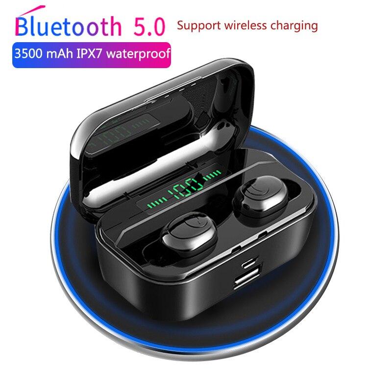3500 mah tws fone de ouvido sem fio bluetooth 5.0 fones led power display cvc8.0 dsp redução ruído esporte fone de ouvido banco potência