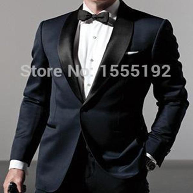 Custom Made Dark Blue Tuxedo Inspired By Suit Worn In James Bond
