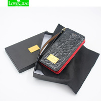 LoveCase Metal Logo 3D Camellia Patent Leather Case For Iphone X 10 Flip Wallet Skyle Phone