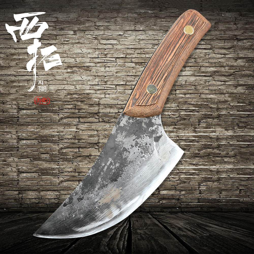 XITUO hand forging slaughter butcher knife full Tang Bao steel planing knife beef hammer wide axe