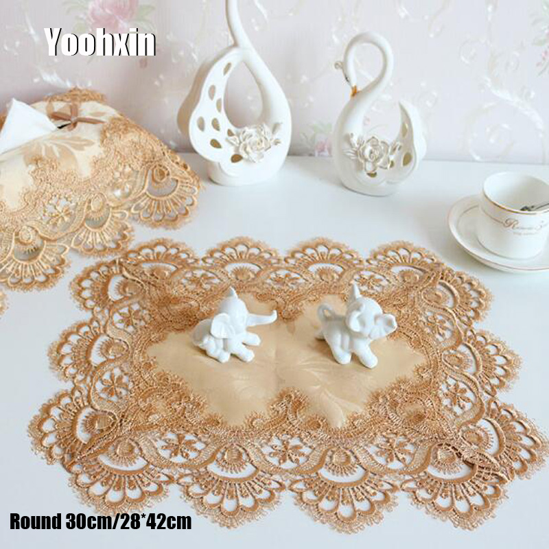 Luxury lace embroidery place table mat cloth pad cup mug drink satin doilies dining tea coaster wedding dish placemat kitchen in Mats Pads from Home Garden