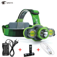 USB Flashlight Head Torch Lantern 10000Lm XM-L L2+2LED Head lights Headlamp Rechargeable 18650 Headlight For Fishing Camping