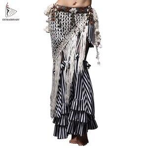 Image 5 - Tribal Oryantal Dans Kostümleri Vintage Paraları Sütyen Püskül Kemer Pantolon Kadın Tribal Top Giysileri 3 adet Set Kıyafet Seksi Işlemeli çingene