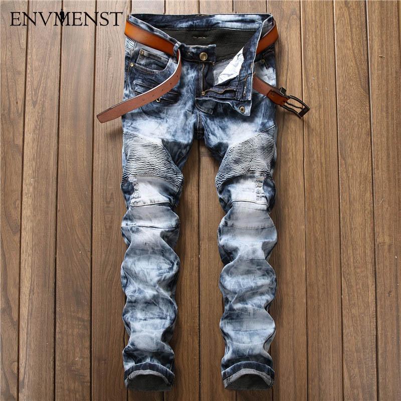 2017 Brand Clothing Fashion Snow Wash Designed Mens Fold Blue Jeans Big Size Flexible Slim Biker Ripped Denim Pants
