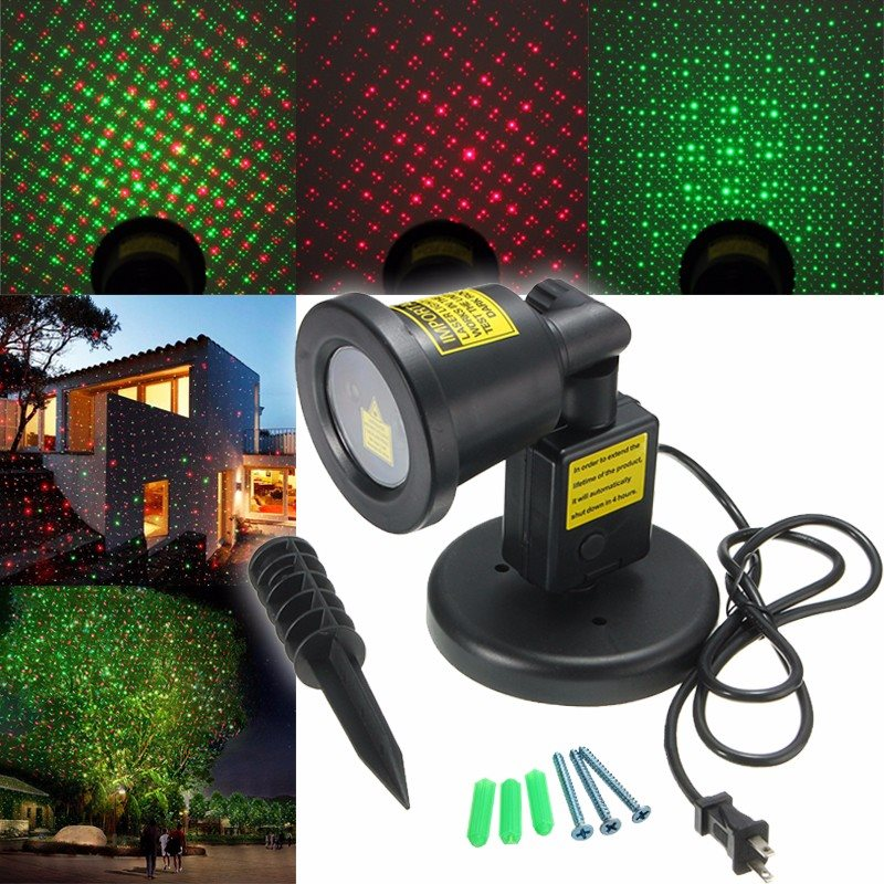 ФОТО Waterproof RGB Landscape Garden Projector LED Moving Laser Outdoor Christmas Stage Light Lamp US Plug AC100-240V