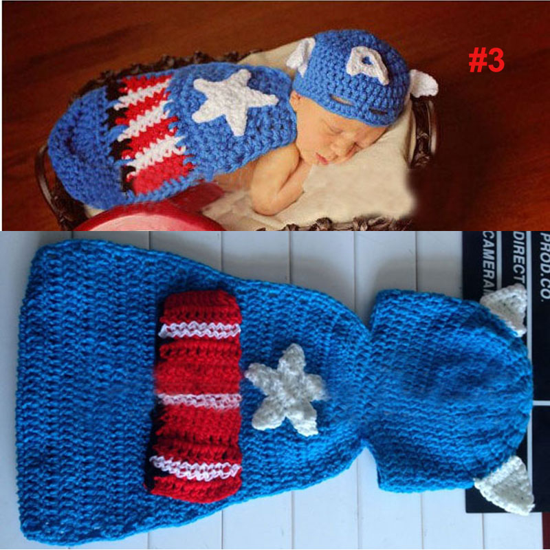 Узор вязания крючком ребенка шляпа с крышкой животного Стиль новорожденных Подставки для фотографий костюм наряд павлина/Микки/Турция sg044