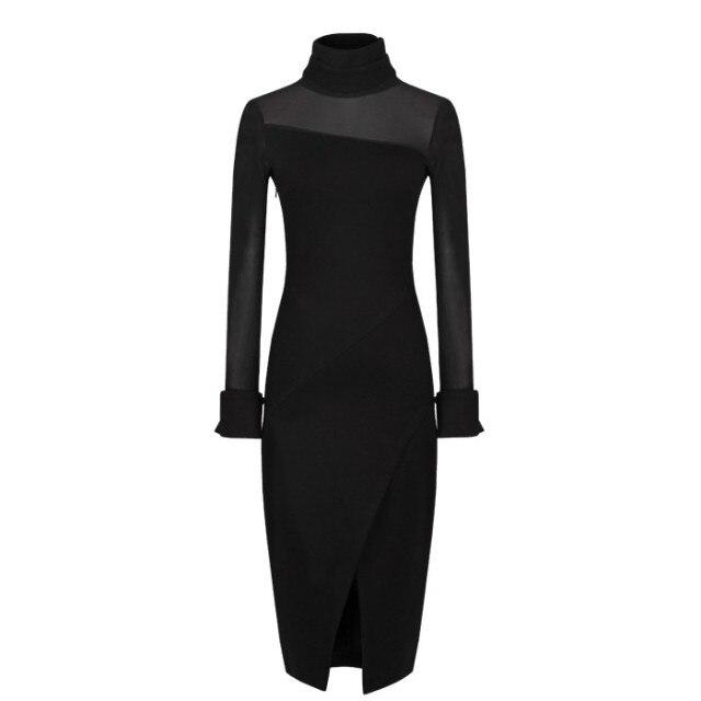 2014 spring elegant fashion sexy curve gauze patchwork before placketing long-sleeve dress women