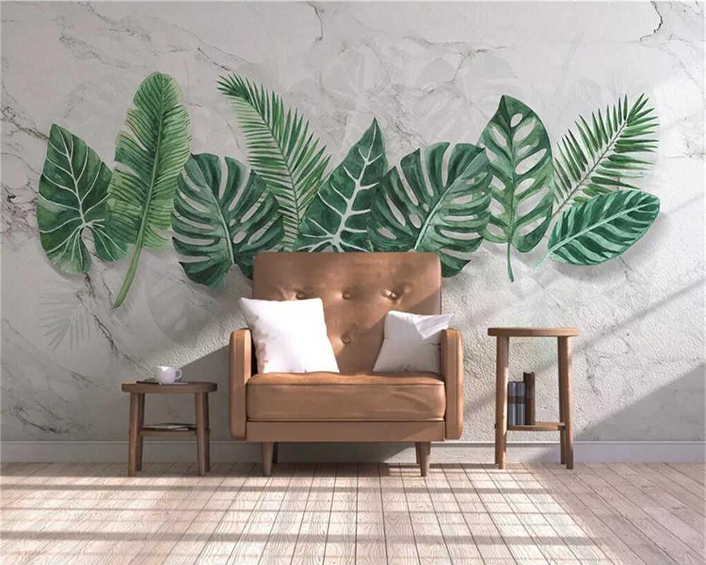 Декоративные обои современная простая мраморная текстура ручная роспись растительный лист фоновая стена