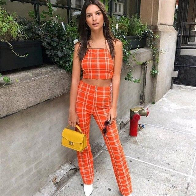 a06c98e064 2017 Autumn fashion women plaid high waist pants halter tie up bandage  zipper crop top two piece suit