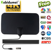 Kebidumei 4K 25DB цифровой ТВ антенна с высоким коэффициентом усиления HD ТВ D ТВ коробок по 50 миль усилитель активная комнатная антенна HD плоский ди...
