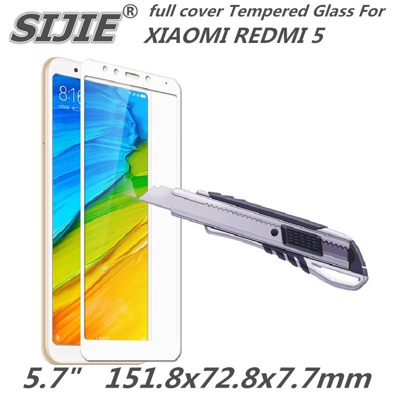 full cover Tempered Glass for redmi 5 5.7 inch redmi5 cover screen protective smartphone toughened case on crystals thin clear