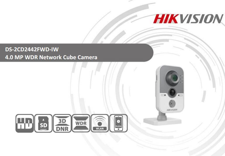 Free Shipping HIKVISION DS-2CD2442FWD-IW 4MP IR Cube Network Camera Full HD1080p CCTV WIFI Camera free shipping ds 2cd2442fwd iw english version 4mp ir cube network cctv security camera mini wifi ip camera poe 10m ir