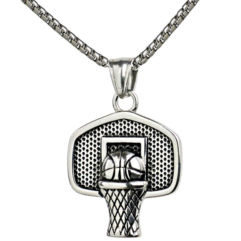 Basketball Basket Pendant Necklace Stainless Steel Chain
