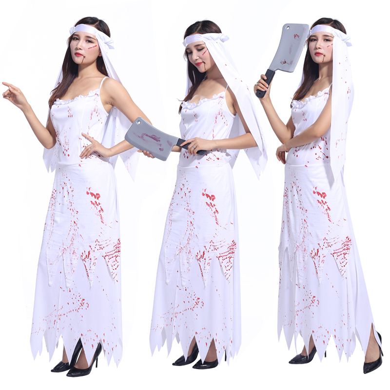 Halloween costume adult female ghost bride bloody horror role-playing ghost clothes clothing costume party performance clothing