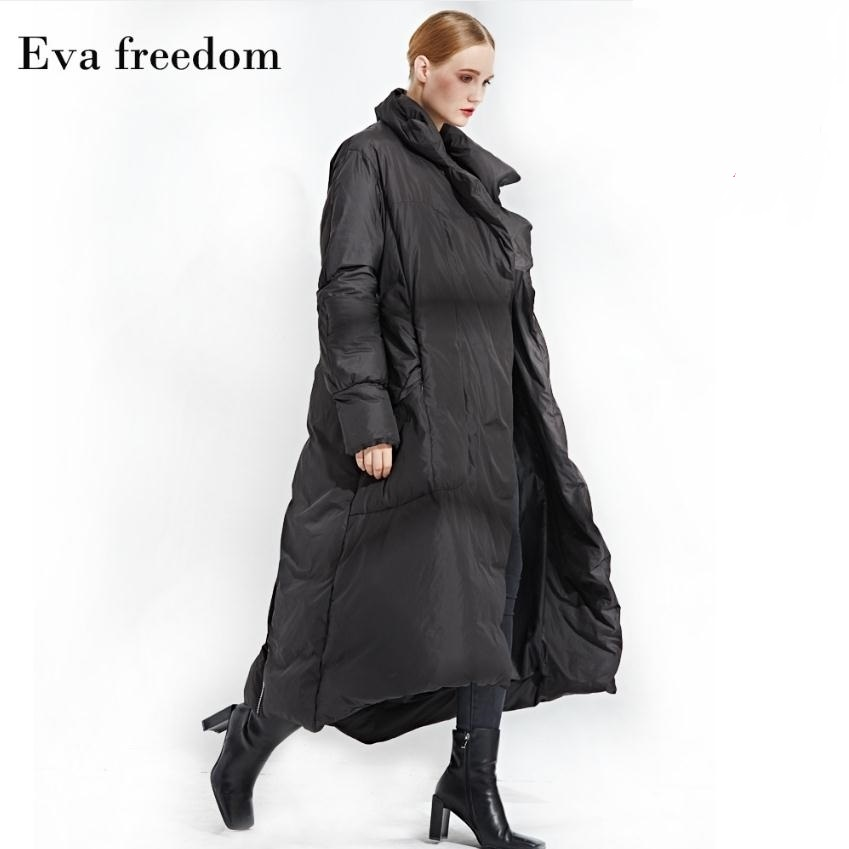 2019 Winter loose style good quality 90% real duck   down     coat   female high collar thicker long warm   down     coats   wq118 dropship