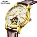 GUANQIN 2019 механические Автоматические часы водонепроницаемые золотые брендовые роскошные часы мужские часы с турбийоном часы с дисплеем нед...