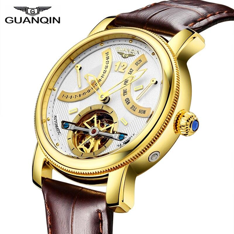 GUANQIN 2019 Mechanische Automatische klok waterdicht goud Merk Luxe Horloge Mannen Tourbillon Horloge week maand display Horloge-in Mechanische Horloges van Horloges op  Groep 1