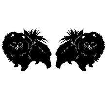 16*6.7CM 1Pair Pomeranian Dog Lovely Animal Car Sticker Fashion Rearview Mirror Decorative Decals C6-1170