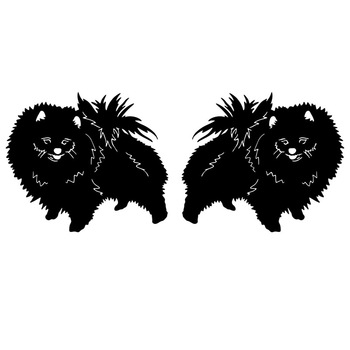 16*6.7CM 1Pair Pomeranian Dog Lovely Animal Car Sticker Fashion Rearview Mirror Decorative Decals C6-1170 image