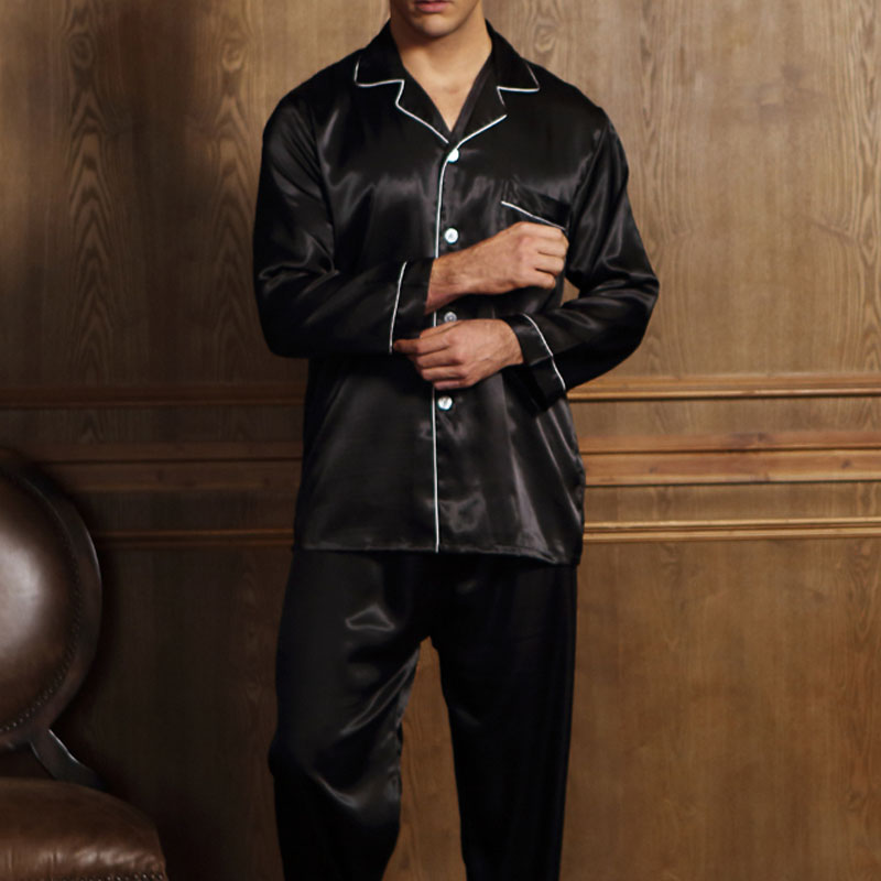 SESERIA Mens Silk Satin Pajamas Summer Nightwear Pajamas Set Sleepwear Lounge Wear ...