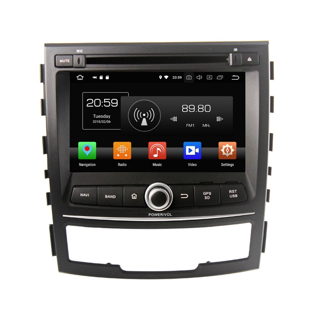 4GB+32GB Octa Core 7 Android 8.0 Car Radio DVD GPS for Ssangyong Korando 2010 2011 2012 2013 Car Stereo WIFI Bluetooth USB DVR image