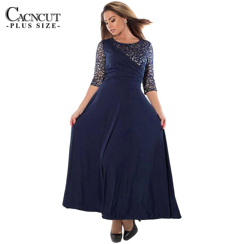 Plus Size Sexy Party Dresses winter dresses 2017 Women Long Dress maxi big sizes Lace Patchwork Dress lady party vestidos