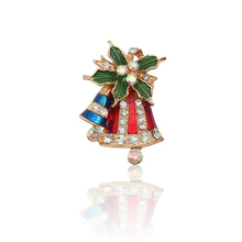 European And American Fashion Christmas Pin And Brooch Color Rhinestone Christmas Tree Leaf Bell Brooch Jewelry Female Christmas