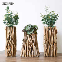 Handmade wooden geometric vase decoration Fake flower decoration Living room potted flower arrangement With lights