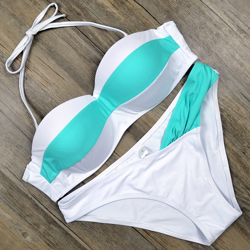 2017 Sexy Lady Biquini Push Up Swimsuit White Bikinis Beach Swim Wear Swimming Bathing Suit Swimwear Women Brazilian Bikini set bikini 2017 sexy swimsuit 5 color halter top female swimwear women beach bathing suit swim push up brazilian bikinis set biquini