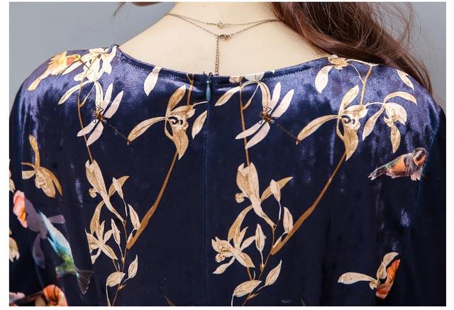 Autumn plus size women clothing 2017 fashion v neck sexy long maxi bandage dress woman vintage floral velvet dresses elbise robe 5