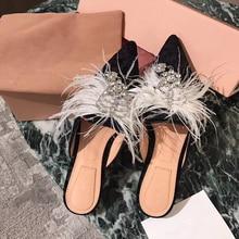 Hanbaidi Luxus Strass Frauen Hausschuhe Mode Samt Pelz Spitz Slip On Wohnungen Runway Outfit Freizeitschuhe Zapatos Mujer