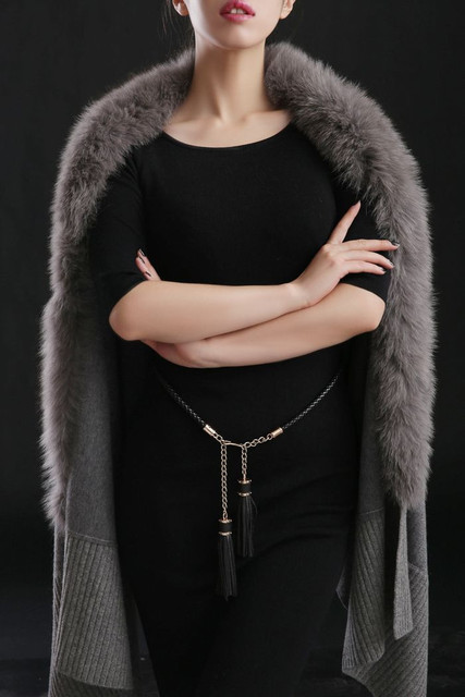 cashmere scarf shawl winter women scarves fur trimmed cashmere knitted cape with genuine fox fur cashmere cape F1115 1
