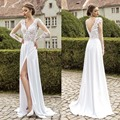 Romantic Lace Full Sleeve Beach Wedding Dresses Bridal Gowns Dress V-neck Chiffon Side Split Open Back Vestido De Noiva