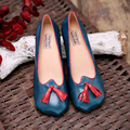 Retro High Quality of Handmade  Full Grain Leather Women Shoes Spring/Autumn  Square Toe High-heeled  Shallows Pumps