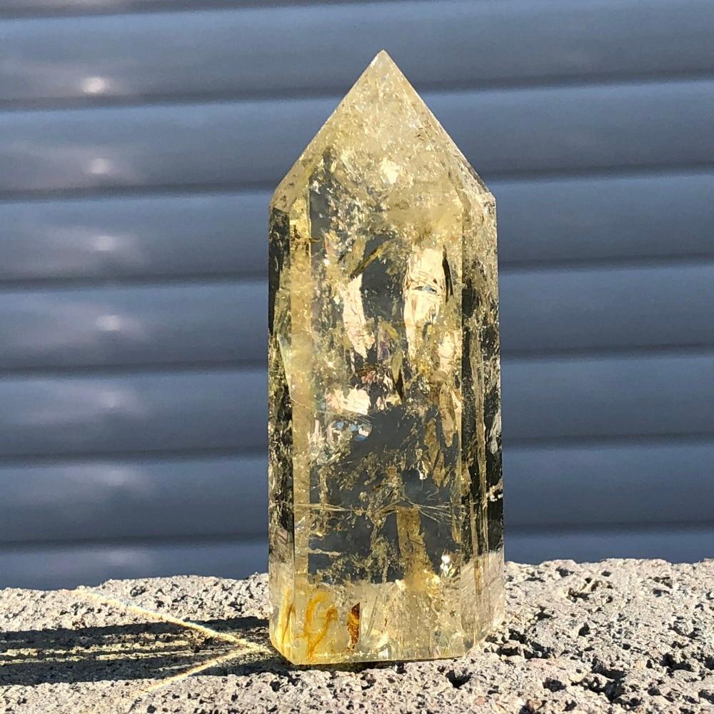 Natural citrino obelisco de cristal de quartzo wand ponto de cura