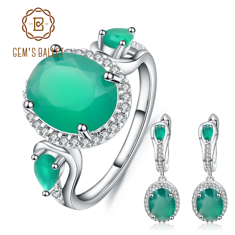 GEM S BALLET Natural Oval Green Agate Jewelry Set 925 Sterling Silver Vintage Earrings Ring Set